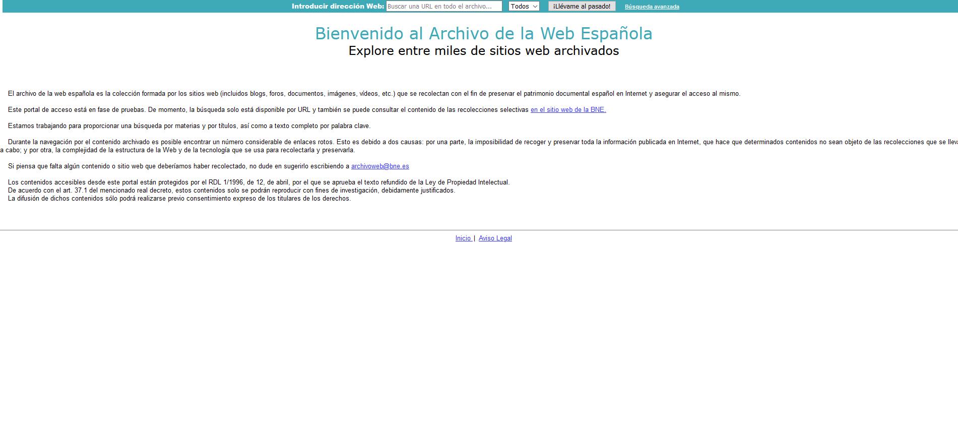 Imagen de la página de inicio del Portal de Archivo de la web Española