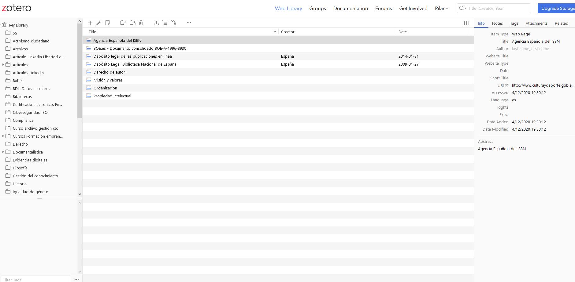 Imagen de la aplicación Zotero.Imagen de la pantalla my library de la aplicación zotero